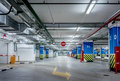 Underground parking garage industrial interior neon light in bright industrial building Stock Photography