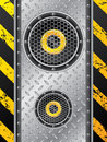 Underground speaker design set with metallic plate and grunge stripes Royalty Free Stock Photos