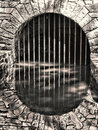Underground Stone Arch Water Tunnel and Reflection Royalty Free Stock Image
