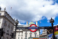 Underground tube station  sign at Piccadilly Circus. London Royalty Free Stock Photo