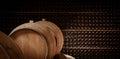 Underground wine cellar, Wooden barrels, bottles storage, Royalty Free Stock Photo