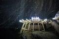 Underground wood structures in turda salt mine romania Royalty Free Stock Photography