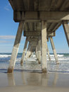 Underneath the Fishing Pier and Boardwalk on Wrightsville Beach, North Carolina Royalty Free Stock Photo
