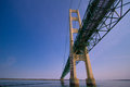 Underneath the mighty mackinaw bridge in michigan girder and pilings of mackinac is one of longest suspension bridges world and Stock Photos