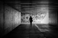 Underpass a woman goes through an in the city of magdeburg Stock Photography
