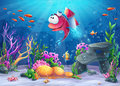 Undersea fish with rocket Royalty Free Stock Photo