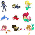 Underwater cartoon characters and objects collection icon set (v