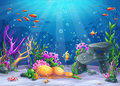 Underwater cartoon illustration Royalty Free Stock Photo