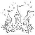 Underwater castle. Black and white vector illustration for coloring book Royalty Free Stock Photo