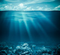 Underwater coral reef seabed and water surface with sky Royalty Free Stock Photo