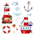 Watercolor set with anchor,lighthouse,ship,seagulls and clouds