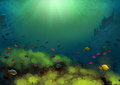 Underwater drawn scene with sun rays fish and corals Stock Photo
