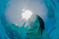 Underwater Girl Pool Smiles Stock Image