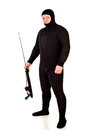 Underwater hunter man speargun on white Royalty Free Stock Images