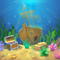 Underwater landscape. The ocean and the undersea world with different inhabitants, corals and pirate chest Royalty Free Stock Photo