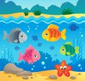 Underwater ocean fauna theme eps vector illustration Stock Photo