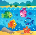 Underwater ocean fauna theme eps vector illustration Stock Images