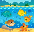 Underwater ocean fauna theme eps vector illustration Royalty Free Stock Images
