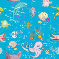 Underwater pattern life seamless with fishes and sea animals hand drawn doodles over a blue background Royalty Free Stock Images