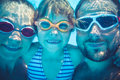 Underwater portrait of family Royalty Free Stock Photo