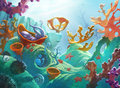 Underwater scene with coral reef cartoon hand drawn acrylic illustration of an and some sea creatures like octopus and jelly fish Stock Photography