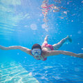 Underwater swimming Stock Photography