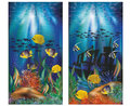 Underwater tropical banners with ship, vector