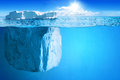 Underwater view big iceberg beautiful polar sea background illustration Royalty Free Stock Photos