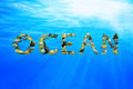 Underwater word OCEAN composed from fish Royalty Free Stock Images