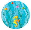 Underwater world in circle illustration of a Stock Images