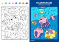 Underwater world coloring page for kids, jellyfish.