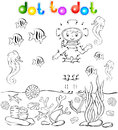 Underwater world with diver dot to dot vector illustration Royalty Free Stock Image
