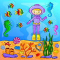 Underwater world with diver vector illustration Stock Photography