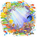 Underwater world. fish coral reef. watercolor illustration for children Royalty Free Stock Photo
