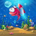 Underwater world with funny fish background Royalty Free Stock Photo