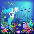 Underwater world, little mermaid, fishes, sea plants and a pearl Royalty Free Stock Photo