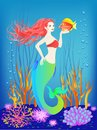 Underwater world, little mermaid, fishes, seashells plants and a pearl Royalty Free Stock Photo