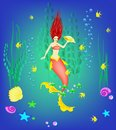 Underwater world, little mermaid, fishes, plants and a pearl, vector illustration Royalty Free Stock Photo