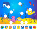 Underwater world and marine life complete the puzzle find missing parts of picture vector illustration educational Royalty Free Stock Image