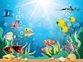 Underwater world vector illustration with reefs and tropical fishes Royalty Free Stock Photos