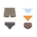 Underwear panties clothes vector set.