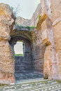 Undressing rooms in the ruins of ancient roman baths of caracalla thermae antoninianae scenic view on old or apodyterium at summer Royalty Free Stock Photos