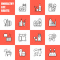 Unealthy lifestyle habits black and white line vector icons isolated. Fast junk food cola hanburger pizza. Bag habit