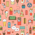 Unealthy lifestyle habits colorful line vector icons seamless pattern. Fast junk food cola hanburger pizza. Bag habit