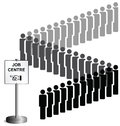 Unemployed people queuing Stock Images