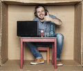 Unemployed student sitting in his room playing video games Royalty Free Stock Photo