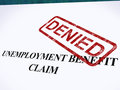 Unemployment Benefit Claim Denied Stamp Shows Social Security We Stock Image