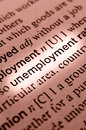 Unemployment concept in word tag selective focus in the middle of word Stock Photography