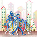 Unemployment: out of work job search - concept image on city bac