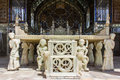 Unesco world heritage golestan palace in tehran iran marble throne has become site the year this throne was Stock Photo